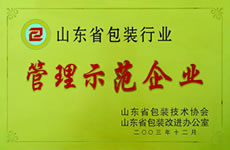 山东省包装行业管理示范单位